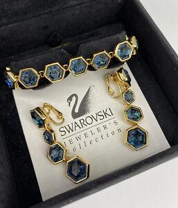GENUINE SWAROVSKI GOLD TONE WITH BLUE STONES BRACELET & MATCHING EARRINGS