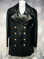 Authentic CHANEL Black Leather Jacket Pockets GOLD buttons Silk inner sz 38 J194