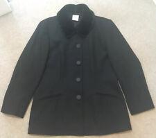 VINTAGE ALEXON Black Wool Jacket Faux Fur Collar Smart Work Funeral UK18 (14-16)