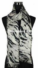 Handmade 2-Ply 100% Cashmere Pashmina Shawl Wrap w/ ZEBRA Hand Paint Black/Ivory
