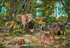 Puzzle en la jungla africana, piezas 2000, j. Enright, elefante, animales, educa