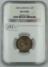 1830 Great Britain 1/4P (Farthing) Copper Coin NGC AU-55 BN AKR