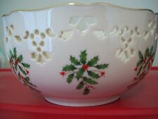 "LENOX CHINA HOLIDAY PIERCED BOWL IVORY WITH GOLD TRIM 6"" DIA X 3"" HEIGHT NWT"