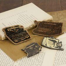 "Prima 556570 ""Typewriter Wood Embellishments "" 4 Pieces New"