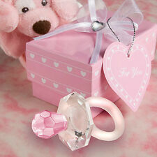 25 Crystal Glass Pink Baby Girl Pacifier Baby Shower Favor Bulk Lot