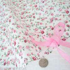 10m MOLLY -  WHITE/ PINK  COTTON FABRIC shabby FLORAL