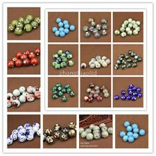 10Pcs Round Ceramic Porcelain Loose Spacer Beads 14/16/18mm DIY Jewelry Findings