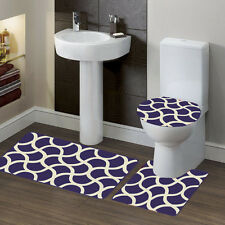 GEOMETRIC STYLE MIX COLORS BATHROOM SET BATH RUG CONTOUR MAT TOILET LID COVER #7