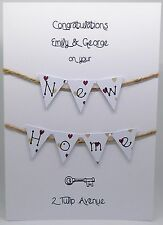 New Home / House Hand Crafted Card (with handmade bunting) + Free UK Delivery