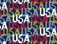 PATRIOTIC AMERICAN FABRIC  USA  RED - WHITE - BLUE w/ GLITTER COTTON BY THE YARD