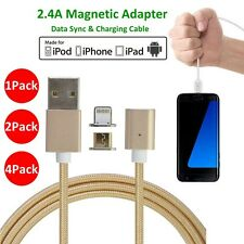 4/2 Pack 2.4A Magnetic Micro USB Adapter Fast Charging Cable fr iPhone Samsung