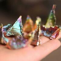 NEW Natural Titanium Bismuth Rainbow Rare Metal Crystal Decor Mineral Gemst R0W0