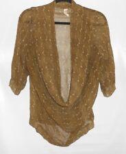 Maggie Ward Size Small Olive Green White Silk Top Drape Neck
