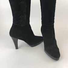 St John's Bay US7 UK5 Black Leather Suede Fully Lined Knee High Zip Party Boots