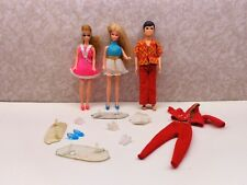 Vintage 1970 Topper Hong Kong Dolls DAWN GLORI & GARY W/Stands Shoes Outfit VgC