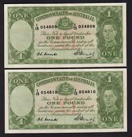 Australia R-31. (1949) 1 Pound - Coombs/Watt..  George VI..  aUNC - CONSEC Pair