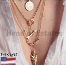 Multi Layer 4 in 1 Necklace Gold Arrow Head Angel Wings Arrowhead Gift
