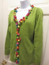 RARE! MICHAEL SIMON Multicolor DANGLING POM POM Balls Cardigan SWEATER Size XL