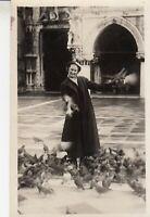 Vintage RPPC Postcard Lady with birds - Pigeons