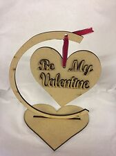 Be My Valentine Hanging Heart With Stand Mdf Wood Wooden 140x120mm Approx