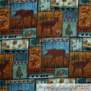 BonEful FABRIC FQ Cotton Quilt Scenic Cabin Animal Deer Moose Bear Block Square