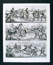 1849 Bilder Atlas Print - Knights Jousting - Medieval Tournament Armour Maces
