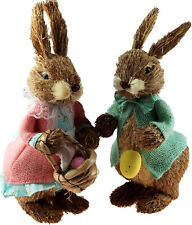 More details for large 35cm tall mr and mrs easter bunny natural figurine ornament (set of 2)