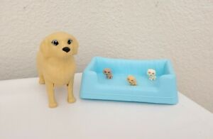 Mattel 2016 Barbie Newborn Pups Momma Mother Dog 3 Puppies & Bed