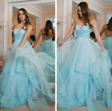 Chic Blue Evening Dresses Spaghetti Straps Sparkling Tulle Formal Party Gowns