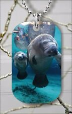 MANATEES IN FLORIDA CLEAR WATER DOG TAG NECKLACE PENDANT FREE CHAIN -vms4Z