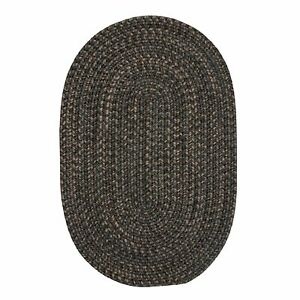 Hayward Heathered Charcoal Wool Blend Country Farmhouse Oval Round Braided Rug