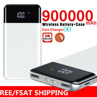 900000mAh Qi Wireless Power Bank USB Fast Charging Battery Pack Portable Charger