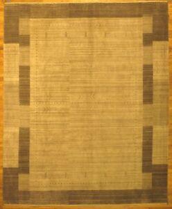 Handmade Carpet 8' x 10' Contamporary Gray Wool Modern New 8' 1'' x 9' 10'' Rug