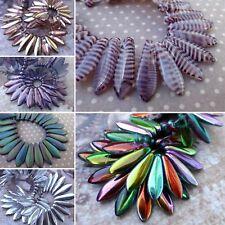 t050 3x10mm 50 turquoise//lilas czech glass dagger beads