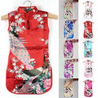 Chinese Kids Baby Girl Floral Peacock Summer Short Dress Cheongsam Qipao Clothes