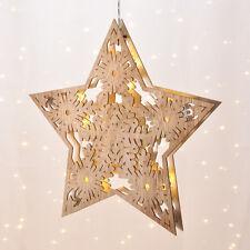 Weihnachtsstern Holzoptik Ø 33 cm LED Batterie Weihnachten Stern warmweiß Deko