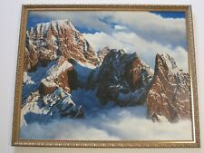 """RICHARD GAYNOR PAINTING PHOTO REALISM MOUNTAINS CLOUDS SNOW LISTED AMERICAN 38"""""""