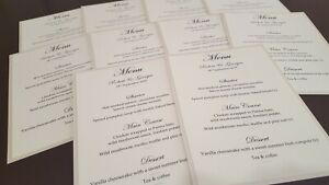 Handmade Personalised Wedding Table Menu cards *lots of colours available