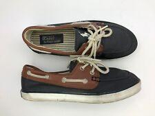 """Polo Ralph Lauren The """"SANDER"""" Blue Leather Canvas Boat Shoes Men's Size 4.5 G62"""