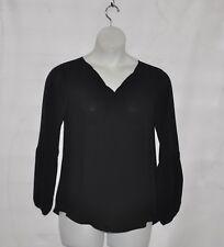 Joan Rivers Split Neck Blouse with Lantern Sleeves Size S Black