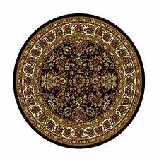 "Black Oriental Persian Round Area Rug 3x3 Border  Carpet - Actual 3'3""x3'3"""