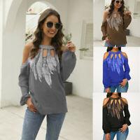Off Blouse Plus Ladies Shirt Shoulder Size Floral Loose Sleeve Long Tops Women