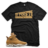 BLACK Wheat BLESSED T Shirt for Jordan Golden Harvest 6 OG Wheat Gold 1 13