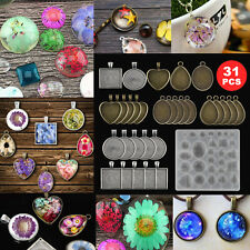 31pcs Resin Molds Silicone Mold Crystal Pendant Tray DIY Jewelry Pendant Kit US
