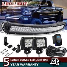 """Fit 2010-18 Dodge Ram 2500/3500 Lower Bumper 40/42"""" Curved LED Light Bar+4"""" Pods"""