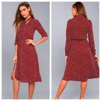 NWT Lulu's Save A Spot Burgundy Polka Dot Long Sleeve Midi Dress Size Small