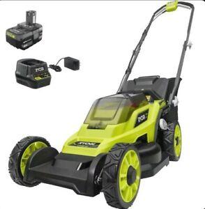 RYOBI Push Lawn Mower 18-Volt Lithium-Ion 7-Position Cutting Height Low Wheel