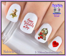 24 Nail Decals #7602 VALENTINES Victorian Cupid 2 Love WaterSlide Nail Transfers