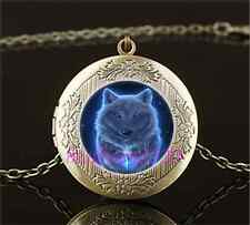 Vintage Night GHOST WOLF Photo Cabochon Glass Brass Locket Pendant Necklace
