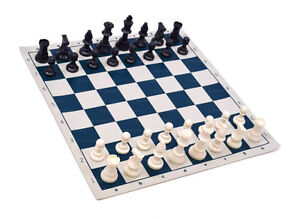 """Analysis Chess Set - 12"""" Blue Vinyl Chess Board – 32 Black & Natural Pieces"""